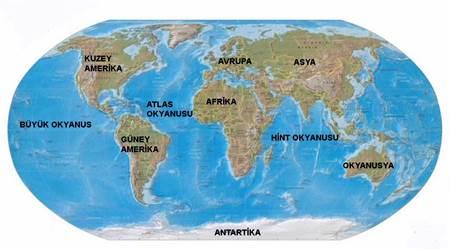 dünyadaki kıtalar