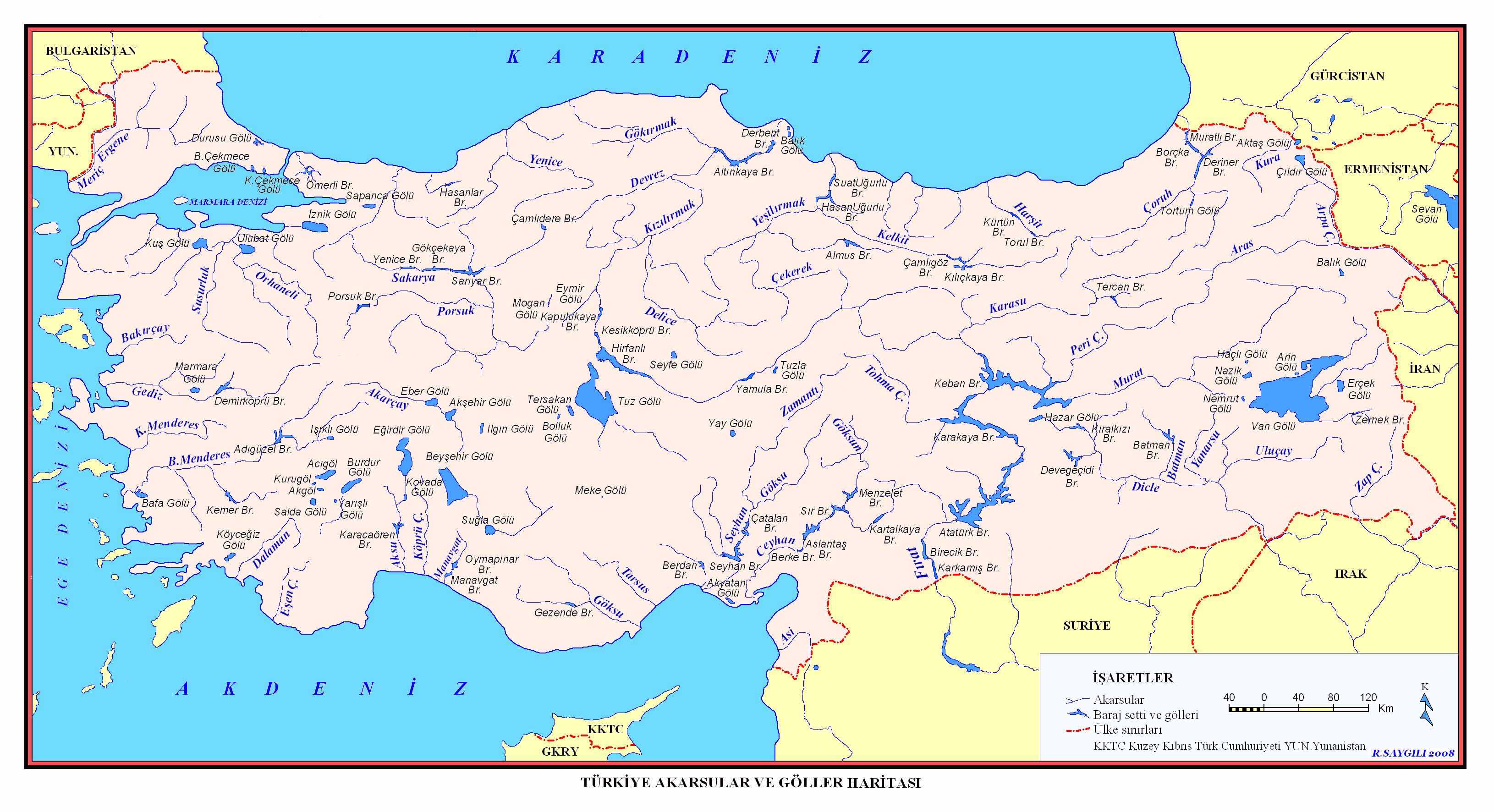 Türkiye'deki Göllerin, Akarsuların ve Nehirlerin Haritası