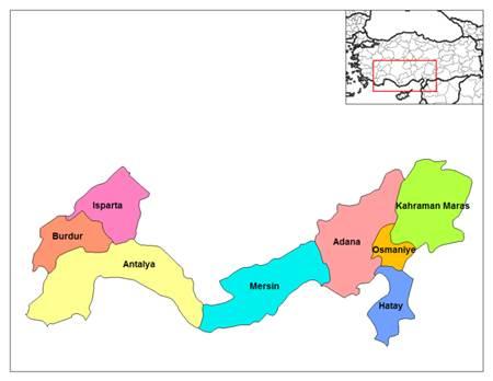 Akdeniz Bölgesi harita