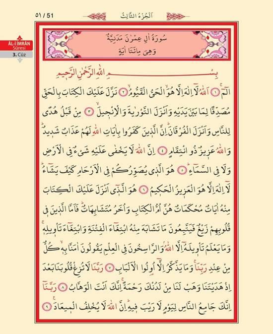 Al-i İmran Suresinin Türkçe okunuşu, anlamı ve Arapça okunuşu